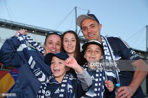 Melbourne Victory supporters at the ground during the 2018 ALeague Grand Final match between the Newcastle Jets and the Melbourne Victory at McDonald...