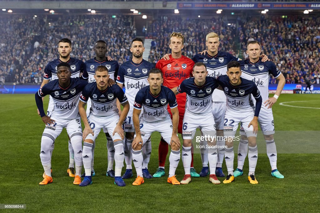 Melbourne Victory team photo at the A-League Grand Final Soccer Match between Newcastle Jets and Melbourne Victory on May 5, 2018 at McDonald Jones Stadium in Newcastle, Australia.