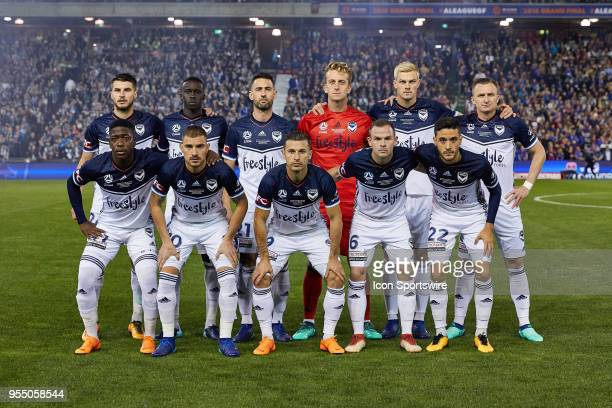 Melbourne Victory team photo at the ALeague Grand Final Soccer Match between Newcastle Jets and Melbourne Victory on May 5 2018 at McDonald Jones...