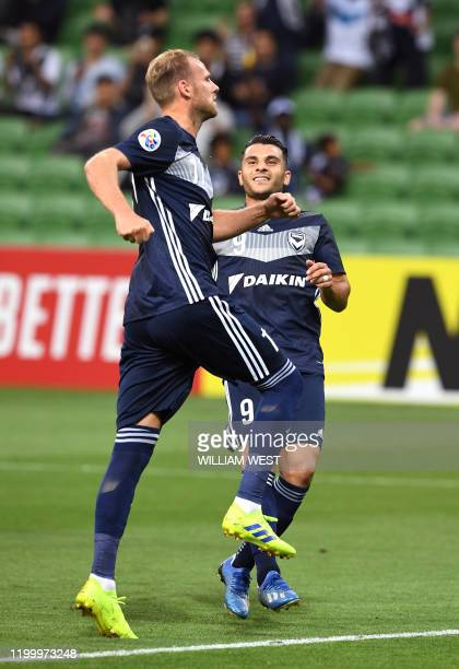 Melbourne Victory's Ola Toivonen celebrates scoring a goal against Chiangrai United during their AFC Champions League football match in Melbourne on...