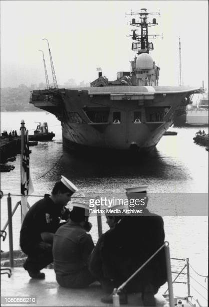 Melbourne was moved by tugs from it's berth at Garden Island to they dry dock where she will stay be divested of large pieces of equipmentCrew of...