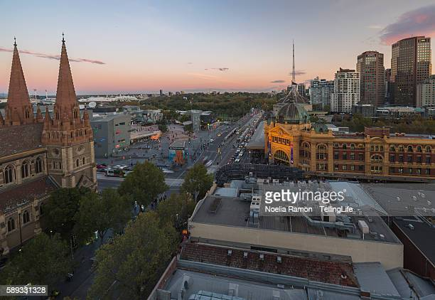 Melbourne with iconic buildings and the botanical gardens at sunset Victoria, Australia