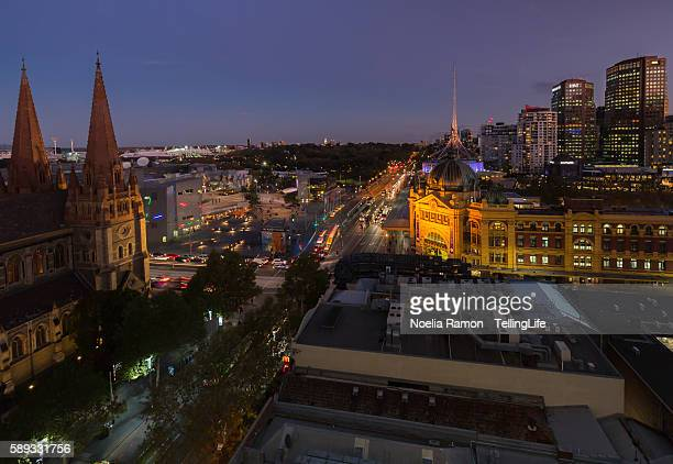 Melbourne with iconic buildings and the botanical gardens during blue hour Victoria, Australia