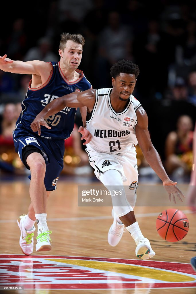 Melbournes Casper Ware during the round one NBL match between the Adelaide 36ers and Melbourne UInited at Titanium Security Arena on October 5, 2017 in Adelaide, Australia.
