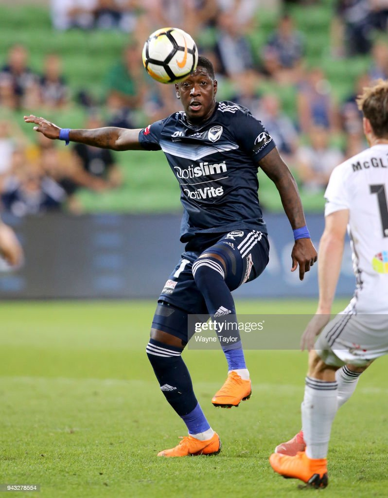 Melbournes Leroy George during the round 26 A-League match between the Melbourne Victory and the Wellington Phoenix at AAMI Park on April 8, 2018 in Melbourne, Australia.