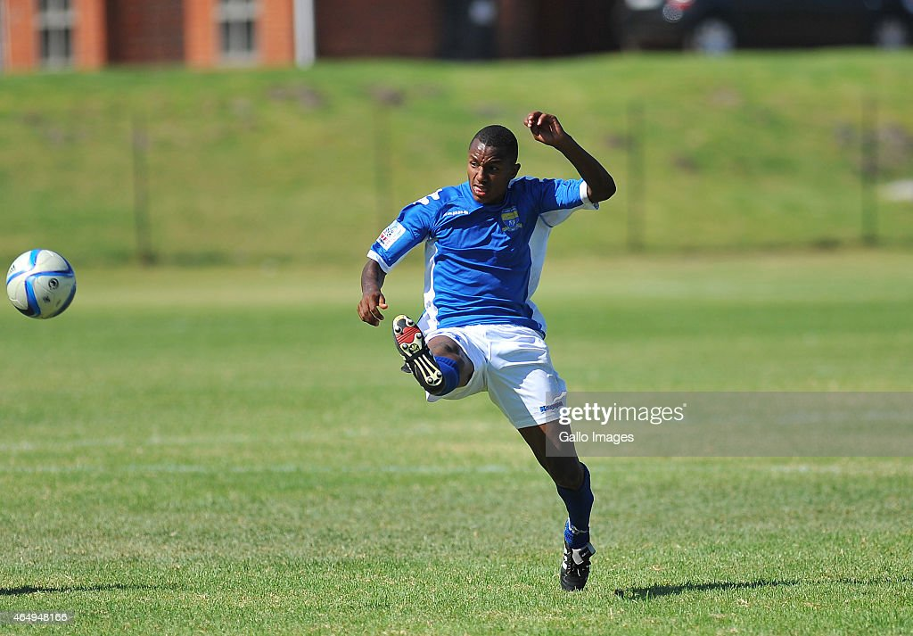 Melcolm Meyer of FC Cape Town during the National First Division match between FC Cape Town and Jomo Cosmos at NNK Rugby Stadium on February 28, 2015 in Cape Town, South Africa.