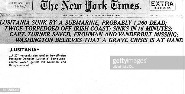 Meldung der 'New York Times' in einer Extraausgabe über die Versenkung der 'Lusitania' am Tag zuvor