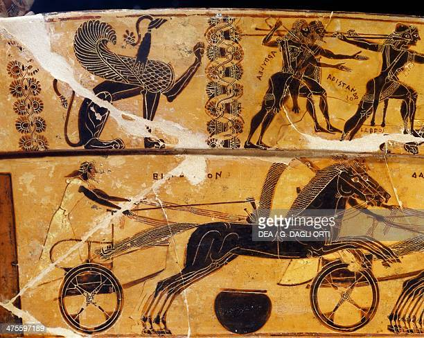 Meleager and Peleus at the Calydonian boar hunt and chariot race organized by Achilles to commemorate Patroclus' death detail from the Francois vase...