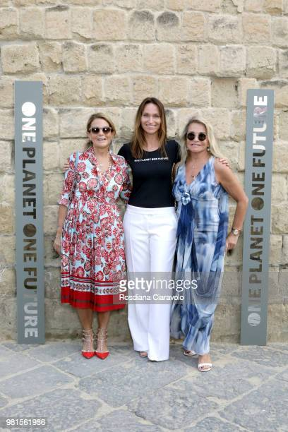 Melek Manisali Anne de Carbuccia and Aysha Dinckcock attend One Planet One Future Cocktail Party on June 22 2018 in Naples Italy