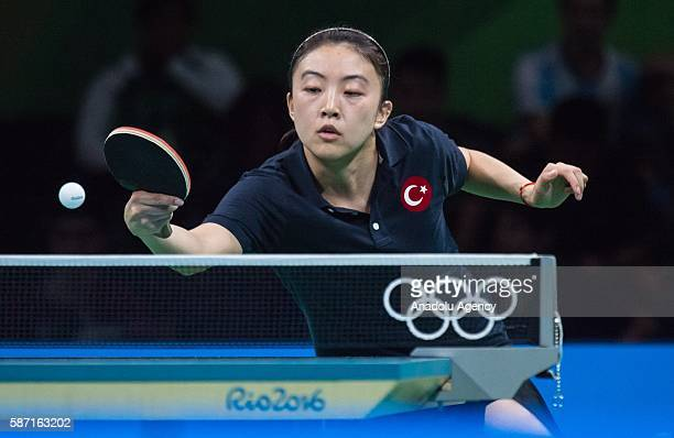 Melek of Turkey in action against CHEN SzuYu of Chinese Taipei during women's singles third round match on second day of the Rio 2016 Olympic Games...