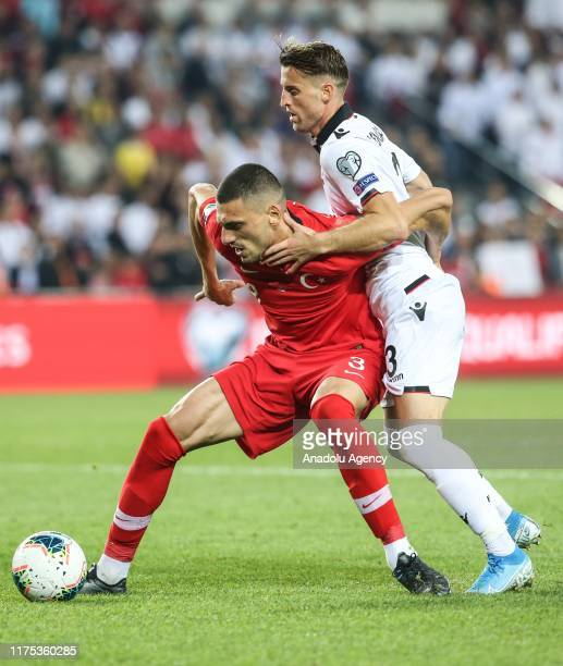 Melih Demiral of Turkey vies with Ermir Lenjani of Albania during the UEFA Euro 2020 Qualifying round Group H group match between Turkey and Albania...