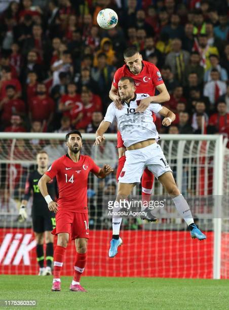 Melih Demiral of Turkey vies with Sokol Cikalleshi of Albania during the UEFA Euro 2020 Qualifying round Group H group match between Turkey and...