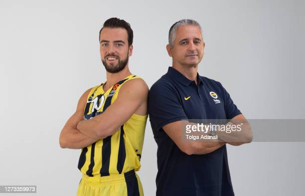 Melih Mahmutoglu, #10 and Igor Kokoskov, Head Coach poses during the 2020/2021 Turkish Airlines EuroLeague Media Day of Fenerbahce Beko Istanbul at...