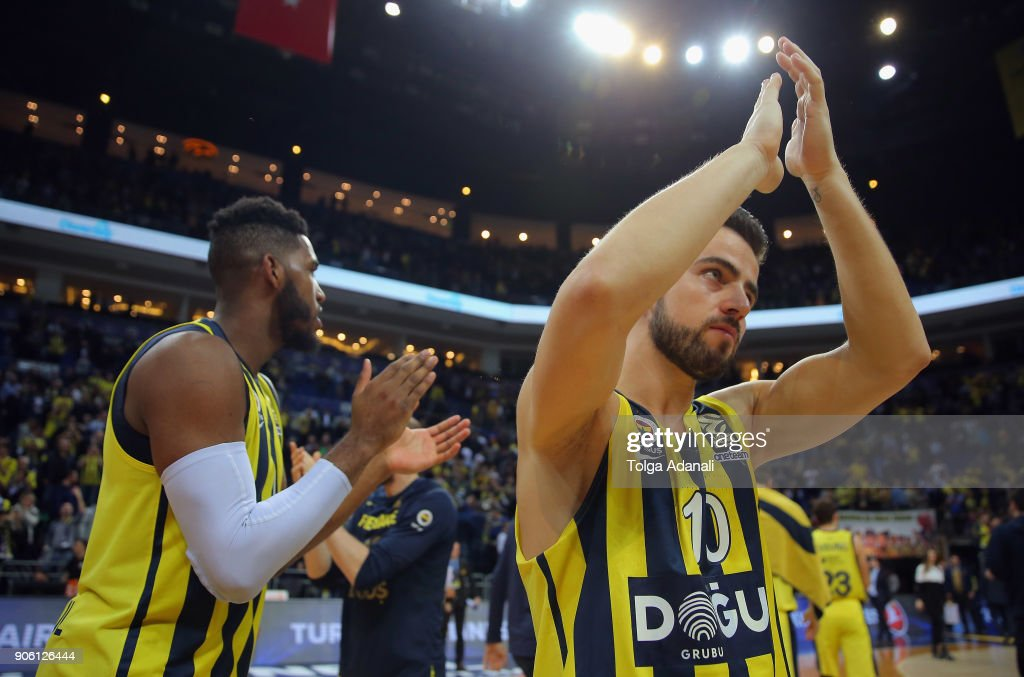 Melih Mahmutoglu, #10 of Fenerbahce Dogus during the 2017/2018 Turkish Airlines EuroLeague Regular Season Round 18 game between Fenerbahce Dogus Istanbul and Panathinaikos Superfoods Athens at Ulker Sports and Event Hall on January 17, 2018 in Istanbul, Turkey.