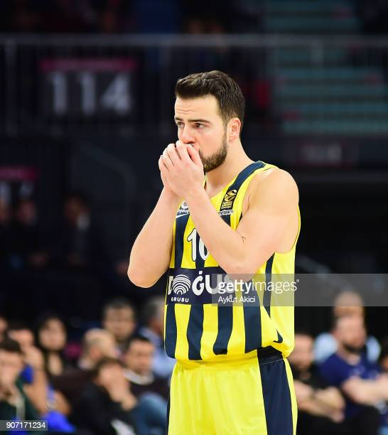 Melih Mahmutoglu #10 of Fenerbahce Dogus Istanbul in action during the 2017/2018 Turkish Airlines EuroLeague Regular Season Round 19 game between...