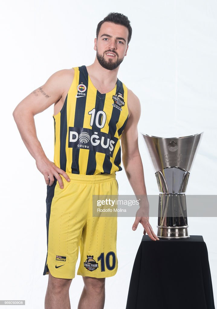 Melih Mahmutoglu, #10 of Fenerbahce Dogus Istanbul poses during the 2018 Turkish Airlines EuroLeague F4 Teams Captains with Champion Trophy Photo Session at Hyatt Regency Belgrade Hotel on May 16, 2018 in Belgrade, Serbia.