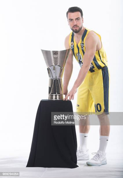 Melih Mahmutoglu #10 of Fenerbahce Dogus Istanbul poses during the 2018 Turkish Airlines EuroLeague F4 Teams Captains with Champion Trophy Photo...