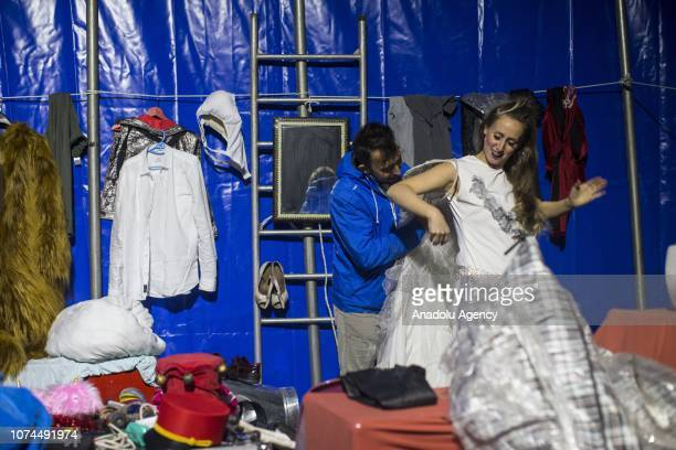 Melike Cankurt gets dressed for a performance at an animal-free circus in Ankara, Turkey on December 15, 2018. Owners of an animal-free circus Ulas...