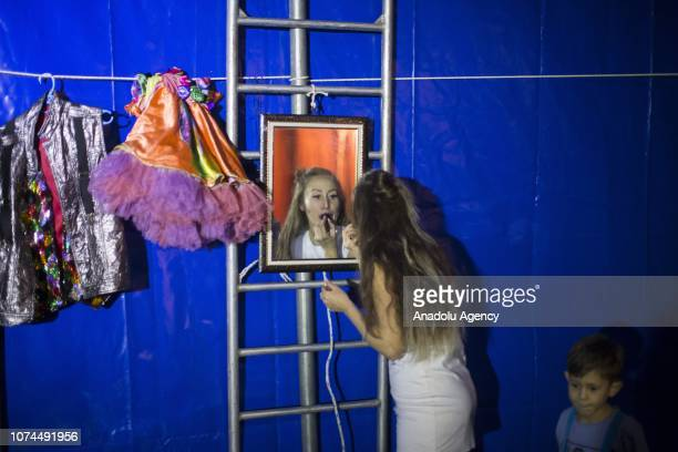 Melike Cankurt puts make-up on herself at an animal-free circus in Ankara, Turkey on December 15, 2018. Owners of an animal-free circus Ulas and...
