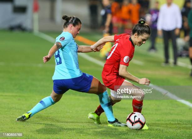 Melike Pekel of Turkey in action against Sherida Spitse of Netherlands during UEFA Women's Euro 2021 qualifying Group A soccer match between Turkey...