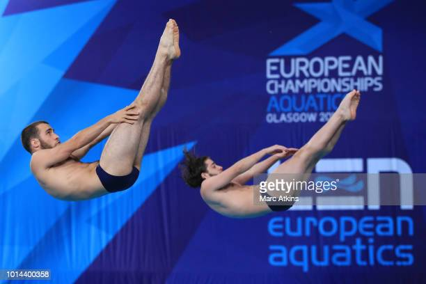 Melikidze Sandro and Onikashvili Tornike of Georgia competes in the Men's Synchronised 3m Springboard Final on Day Nine of the European Championships...