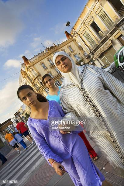 Melilla Muslim youths in the street Juan Carlos I of Melilla
