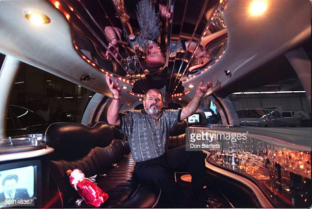 """MELimoInsideDB12/27/96FountainValley """"This ain't no disco """" this ain't the interior of a Lear Jet either but it's a 1997 Lincoln limousine At the..."""