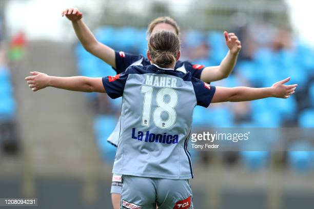 Melina Ayres of Melbourne Victory celebrates with team mate Grace Maher during the round 13 WLeague match between the Newcastle Jets and the...
