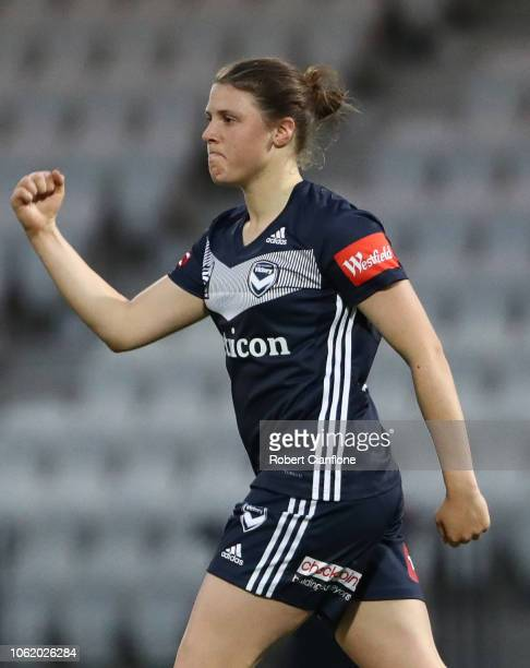 Melina Ayres of the Victory celebrates after scoring a goal during the round two WLeague match between Melbourne Victory and Newcastle Jets at...