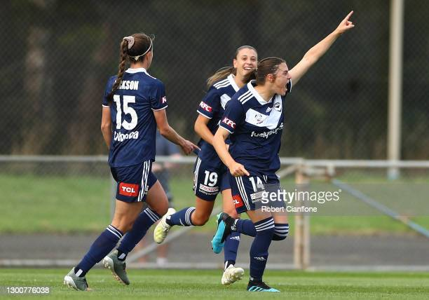 Melina Ayres of the Victory celebrates after scoring a goal during the round seven W-League match between the Melbourne Victory and the Newcastle...