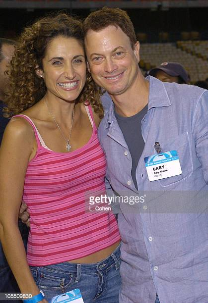 Melina Kanakaredes and Gary Sinise during CBS Stars Party at Dodger Stadium at Dodger Stadium in Los Angeles California United States