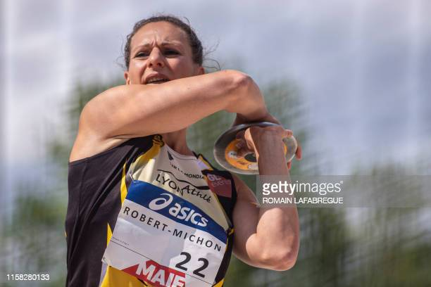 Melina RobertMichon competes and wins the women's discus throw final event during the France Athletics Championships 2019 at the HenriLux stadium in...