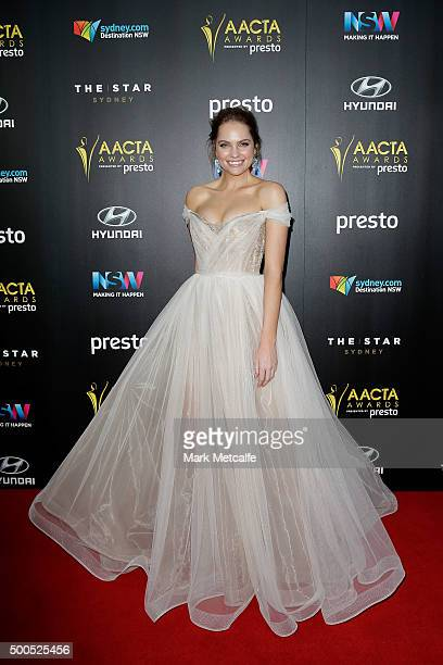 Melina Vidler arrives ahead of the 5th AACTA Awards Presented by Presto at The Star on December 9 2015 in Sydney Australia