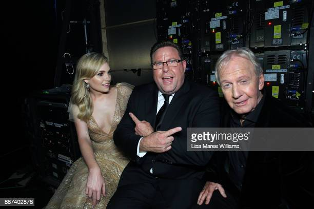 Melina Vidler Shane Jacobson and Paul Hogan pose backstage during the 7th AACTA Awards Presented by Foxtel at The Star on December 6 2017 in Sydney...