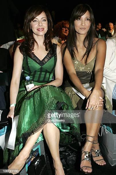 Melinda Clarke and Kelly Hu during MercedesBenz Spring 2005 Fashion Week at Smashbox Studios Sue Wong Backstage and Front Row at Smashbox Studios in...