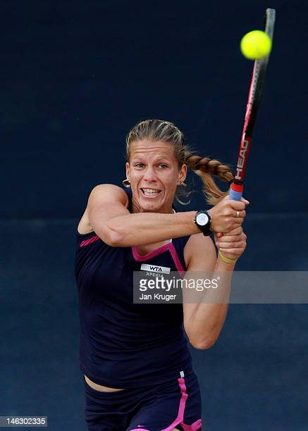 Melinda Czink of Hungary in action during day three of the AEGON Classic at Edgbaston Priory Club on June 13 2012 in Birmingham England