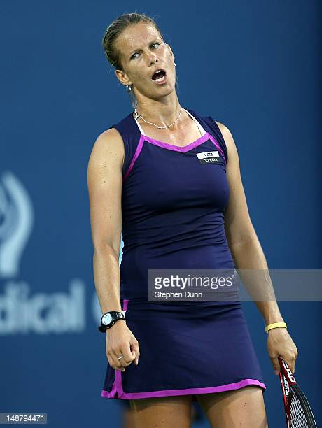 Melinda Czink of Hungary reacts in her match against Jelena Jankovic of Serbia during day six of the Mercury Insurance Open Presented By TriCity...