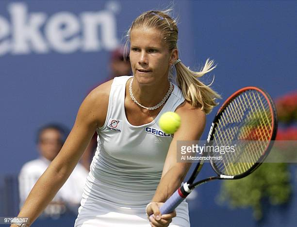 Melinda Czink reaches for a volley Friday August 29 2003 at the U S Open in New York Czink was defeated by thirdseeded Lindsay Davenport