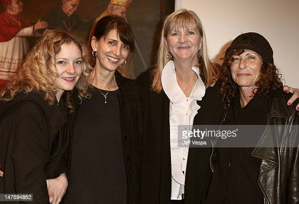 """Melinda Dahl, Ruth Vitale, Rose Goss and guest attend """"The Bryten Goss 2008 Memorial Exhibition"""" held at Track 16 Gallery in Bergamot Station on..."""
