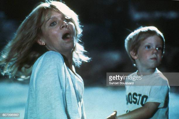 Melinda Dillon and Cary Guffey on the set of Close Encounters of the Third Kind
