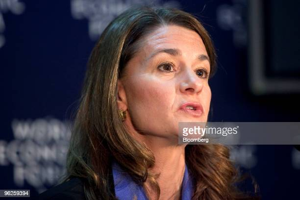Melinda French Gates cochairman of the Bill Melinda Gates Foundation speaks during a press conference on day three of the 2010 World Economic Forum...