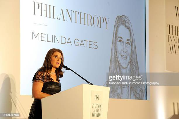 Melinda Gates accepts the Innovator Award in Philanthropy onstage at the WSJ Magazine 2016 Innovator Awards at Museum of Modern Art on November 2...