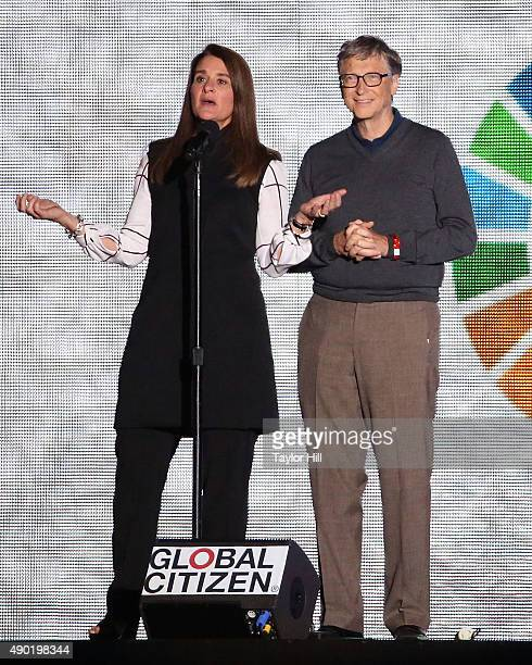 Melinda Gates and Bill Gates speak during the 2015 Global Citizen Festival at Central Park on September 26 2015 in New York City