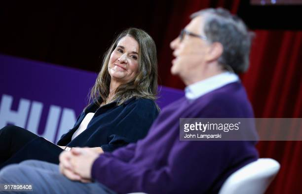 Melinda Gates and Bill Gates speak during the LinManuel Miranda In conversation with Bill Melinda Gates panel at Hunter College on February 13 2018...