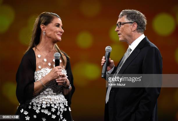 Melinda Gates and Bill Gates speak on stage during The Robin Hood Foundation's 2018 benefit at Jacob Javitz Center on May 14 2018 in New York City