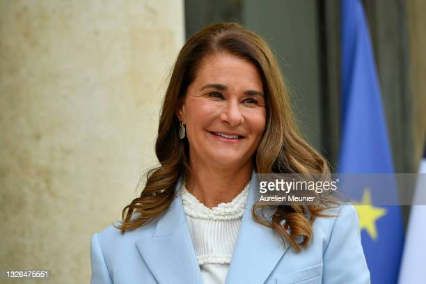 Melinda Gates arrives at Elysee Palace for the Generation Equality Forum hosted by French President Emmanuel Macron on July 01, 2021 in Paris,...