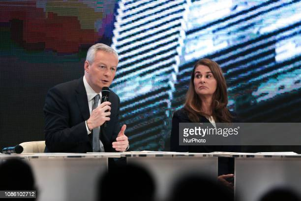 Melinda Gates coChair of the Bill and Melinda Gates Foundation listens French Finance and Economy Minister Bruno Le Maire speaking during the...