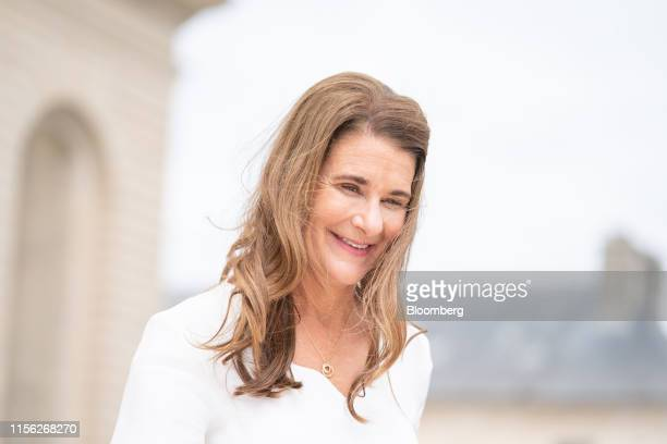 Melinda Gates cochair of the Bill and Melinda Gates Foundation arrives for a Bloomberg Television interview at the Group of Seven finance ministers...