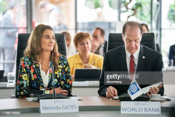 Melinda Gates cochair of the Bill and Melinda Gates Foundation left and David Malpass president of the World Bank Group take part in a round table...
