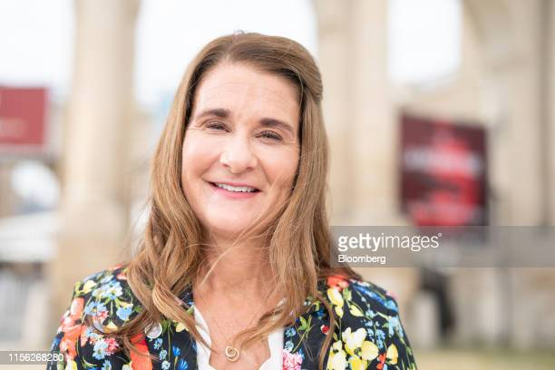 Melinda Gates cochair of the Bill and Melinda Gates Foundation poses for a photograph following a Bloomberg Television interview at the Group of...